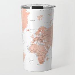 "Rose gold world map with cities, ""Hadi"" Travel Mug"