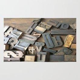 Vintage Wooden Letter Press Letters Rug