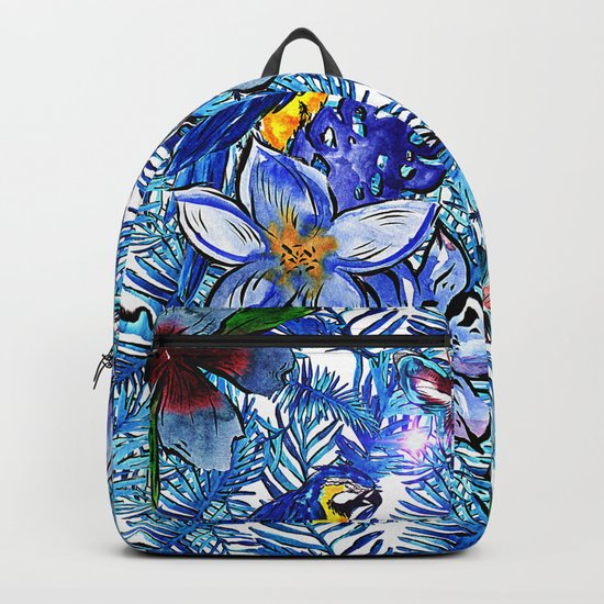 Aloha - Tropical blue Palm Leaf Flower and Bird Pattern Backpack