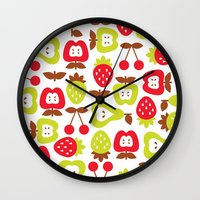 shabby chic Wall Clocks featuring Shabby Chic Fruits Pattern by totallyjamie