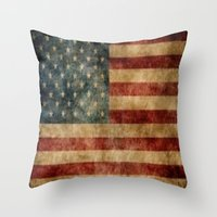 american flag Throw Pillows featuring American Flag by KOverbee