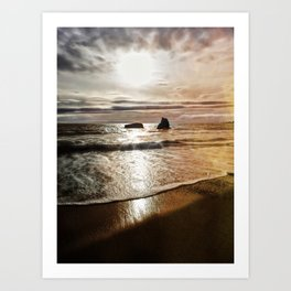 Dusk On The Rocks Art Print