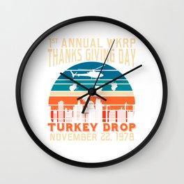 Turkey Drop T-shirt Design Annual WKRP Thanksgiving Day Turkey November 22, 1978 Thought Turkey Wall Clock