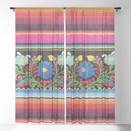 Pink Serape  Sheer Curtain