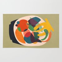 fruits Area & Throw Rugs featuring Fruits in wooden bowl by Picomodi