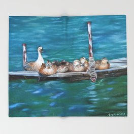 Naptime Ducks on a Dock Throw Blanket