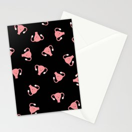 Crazy Happy Uterus in Black, Large Stationery Cards