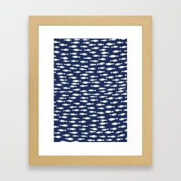 Blue and White Fish Pattern Framed Art Print