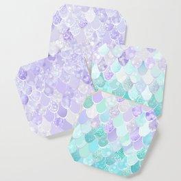 Mermaid Iridescent Purple and Teal Pattern Coaster