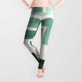 Deep Green Pattern Mid-century Modern Simple Geometric Pattern Watercolor Minimalist Art Squares Leggings
