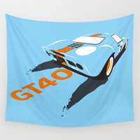 ford Wall Tapestries featuring Ford GT40 by VelocityGallery