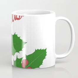 Merry Christmas Holly Leaves Coffee Mug