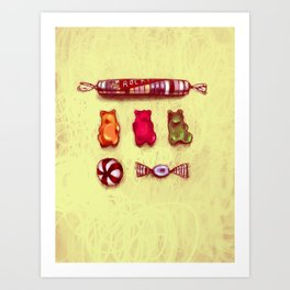 Rocket & Gummy Bears Art Print