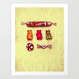 Rocket & Gummy Bears Art Print
