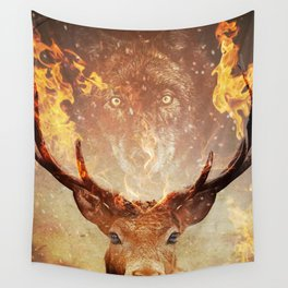 Wolf in the Flames Wall Tapestry