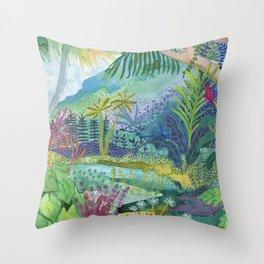 Jungle Paradise Watercolor Throw Pillow