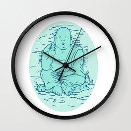 Gautama Buddha Lotus Pose Drawing Wall Clock