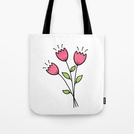 Pretty and Whimsical Pink Tulips Tote Bag