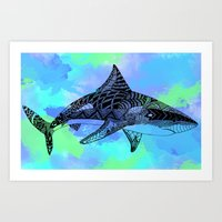 shark Art Prints featuring Shark by Riaora Creations