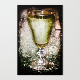 Green fairy in a Glass of Absinthe Canvas Print