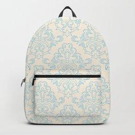 Vintage chic blue ivory floral damask pattern Backpack