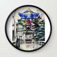spirited away Wall Clocks featuring Spirited Away by Sandra Ink