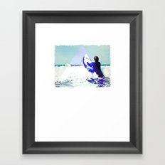 Surfing Devon Framed Art Print