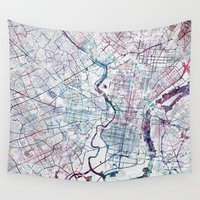 philadelphia Wall Tapestries featuring Philadelphia map by MapMapMaps.Watercolors