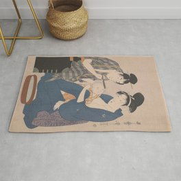 Japanese Antique Woodblock Print - Husband and Wife with Baby Rug