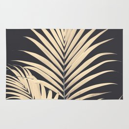 Inverted Vision | White sepia palm tree leaf photography on grey black Rug