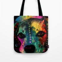 dogs Tote Bags featuring  dogs by mark ashkenazi