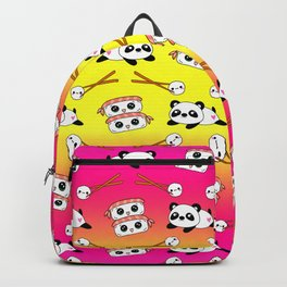 Cute funny Kawaii chibi little playful baby panda bears, happy cheerful sushi with shrimp on top, rice balls and chopsticks bright yellow and pink pattern design. Nursery decor. Backpack