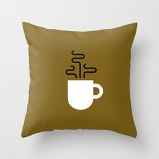 Coffee Cup Gold Throw Pillow