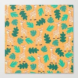 Wild Cute Green Orange Giraffe Leaves Pattern Canvas Print