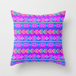 Colorful Mexican Aztec geometric pattern Throw Pillow