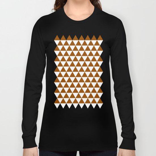 Triangles (Brown/White) Long Sleeve T-shirt