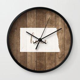 North Dakota is Home - White on Wood Wall Clock