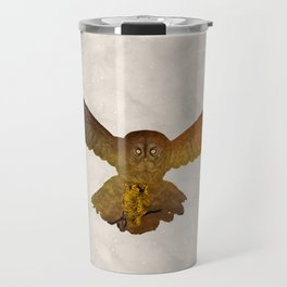 Moonlight Owl - Watercolor Backgrond Travel Mug