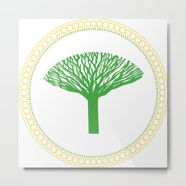 round mandala with a tree Metal Print