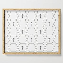 Hexagon Palms - Black and White Serving Tray