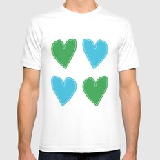 Blue and Green Hearts - 4 hearts MEDIUM White Mens Fitted Tee