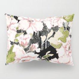 Pink Peony Floral on Geometric Black Print Pillow Sham