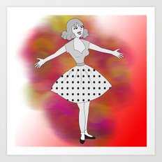 Retro welcoming cartoon girl Art Print