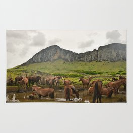 Wild horses on Easter Island Rug