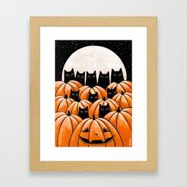Black Cats in the Pumpkin Patch Framed Art Print