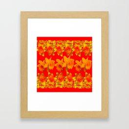 CHINESE RED GOLDEN DAFFODILS GARDEN ART DESIGN Framed Art Print