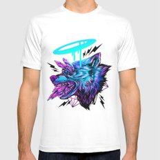 Crystal Wolf White MEDIUM Mens Fitted Tee