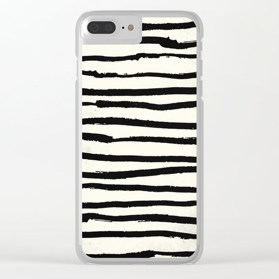 Tribal Stripes Black Earth on Ivory Cream Clear iPhone Case