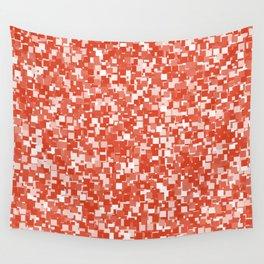 Tangerine Tango Pixels Wall Tapestry
