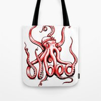 gangster Tote Bags featuring Gangster Octopus by Milo Firewater